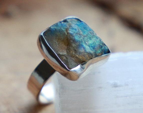 RAW LABRADORITE RING - Sterling silver 925 ring - Natural - Crystal - Rough Gemstone - Raw Crystal - Glowing iridescent - Rare Chakra stone