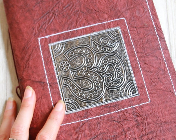OM JOURNAL - Embossed Journal - Om Notebook - Sketchbook - Yoga Notebook - Dream - Travel - Scrapbook - Photo album - Tree Free Paper - Eco
