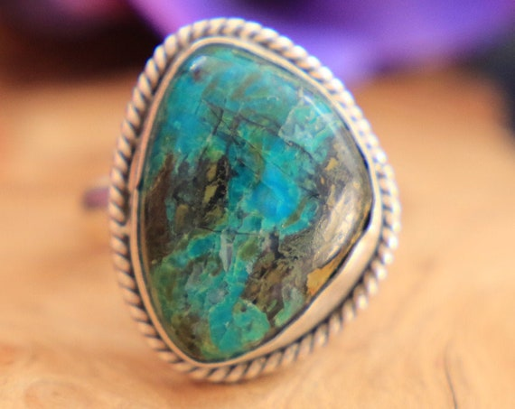 SIGNATURE CRYSOCOLLA RING - Adjustable Sterling Silver Ring - Healing Crystal - Turquoise - Rare Statement Ring - Limited Edition Gift