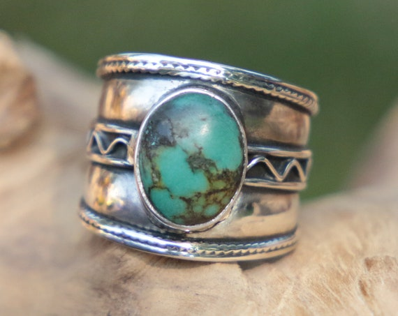 CHUNKY TURQUOISE RING - 925 Sterling Silver - Adjustable ring - Ethnic - Vintage - Hippie - Bohemian - Oxidised Ring - Navajo - Unisex