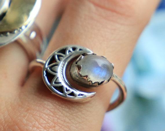 MOON MANDALA RING - Moonstone - Adjustable Sterling silver Moon Child Ring - Galaxy moon - Crystal Moon ring - Galaxy Ring - Gemstone ring
