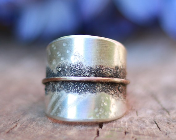 ORGANIC LEAF RING - Adjustable 925 Sterling Silver Ring -  Oxidised Nature Ring - Rustic Texture Jewellery - Hammered Jewellery - Copper
