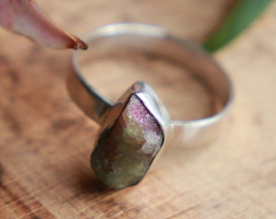 WATERMELON TOURMALINE RING - Gemstone Sterling silver Ring - Unpolished - Organic Natural - Ruby - Bohemian - Rustic Healing Crystal Gift