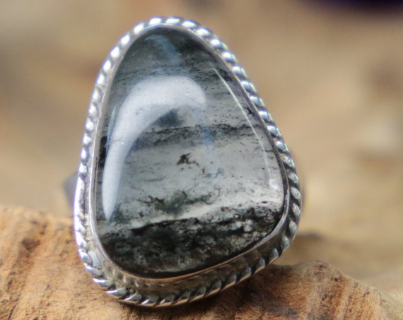 SILVER STORM RING - Black moss Agate - Adjustable - Sterling silver Crystal ring - Jewelry - Magic Ring - Healing Crystal - Bespoke - Ooak