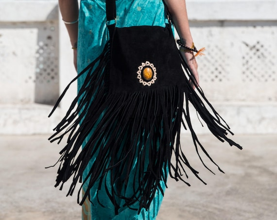 SUEDE FRINGE BAG - *Last one!* - Fringe Shoulder bag - Crystal Bag - Vintage Leather Tassel Bag - Bohemian - Festival bag - Blue Crystal Bag