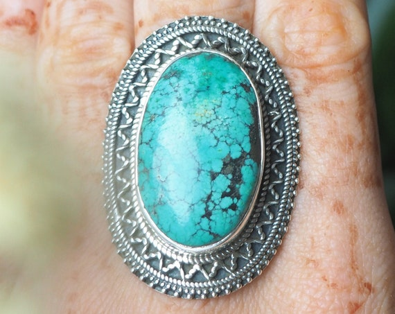 XL TURQUOISE RING - Statement Sterling Silver Ring - Rare Turquoise - Natural Turquoise - Antique Ring - Navajo - One of a kind-  Luxury