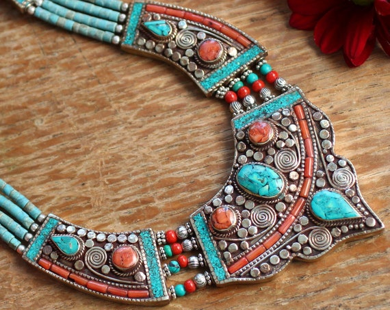 VINTAGE NEPALESE JEWELLERY - Xl Statement Necklace - Coral Turquoise - Nepali - Buddhist - Tibet - Semi Precious Antique Style Gift Set