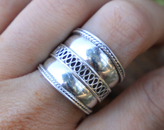 STATEMENT TRIBAL RING - 925 Sterling Silver - Adjustable ring - Ethnic - Vintage style - Hippie - Oxidised Ring - Unisex ring - Mens ring