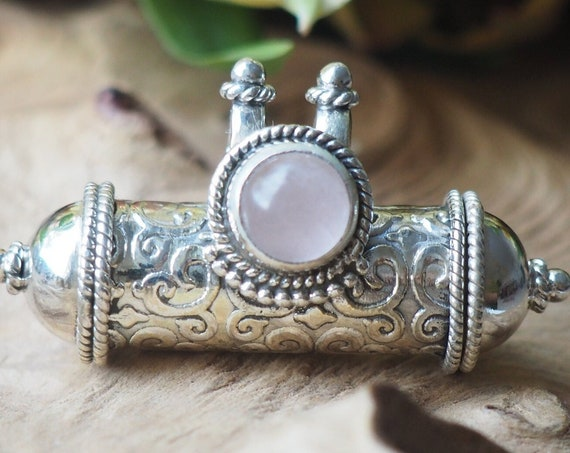 ROSE QUARTZ LOCKET - Sterling Silver Mantra Necklace - Prayer Box - Photo Necklace - Ash Jewellery - Stone of love - Valentine - Fiance Gift