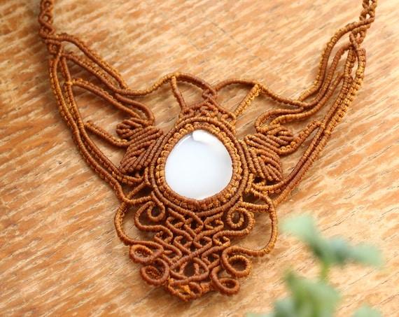 MYSTIC AGATE NECKLACE - Xl Macrame Choker - Rare - Handmade Amulet - Autumn Gift - Yoga Reiki Jewellery - Nature - Leaf Jewelry - Adjustable