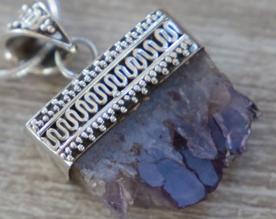 AMETHYST DRUZE PENDANT - Sterling Silver Necklace - Birthstone - Rough Natural Crystal - Raw Gemstone Necklace - Chakra - Boho Vintage Style