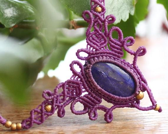 PURPLE LAPIS LAZULI - Micro macrame Choke Necklace - Healing - Adjustable - Xmas Crystal Gift / Valentines - Bohemian vibes - Vintage Ethnic