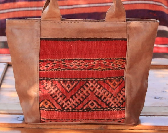 HANDMADE LEATHER HANDBAG - Vintage Purse - Kilim Carpet Bag - Moroccan - Vintage Leather - Up-cycle - Recycled Leather - Shoulder bag - Boho