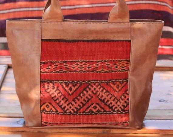 HANDMADE LEATHER HANDBAG - Vintage Purse - Kilim Carpet Bag - Moroccan - Vintage Leather - Up-cycle - Recycled Leather - Shoulder bag - Boho