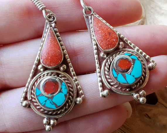 CORAL & TURQUOISE EARRINGS - Vintage Nepalese / Tibetan style - Antique style earrings - Unique Gemstone Gift - Rustic Jewellery - Handmade