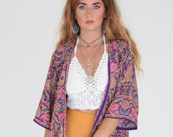 VINTAGE PAISLEY KIMONO - Beach Cover Up - Asymmetric Style - 60's Sun Robe - 70's Clothing - Paisley Jacket - Stevie Nicks Festival Kimono