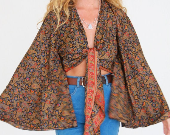 STEVIE BELL SLEEVE - Bell sleeve Crop Top - Vintage Fabric - Festival - Hippie - Retro - 70s - 60'S - Recycled Silk - Kimono - Cape - Beach