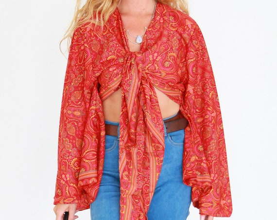 RHUBARB SKY CROP - Ruby Sparrow bell sleeve - Vintage Fabric - Retro - Bohemian - Kimono - Up cycle - Summer - Kaftan - Silk Blend Crop Top