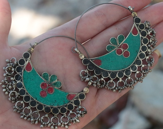 VINTAGE TURQUOISE EARRINGS - Afghan - Handmade - Bespoke - Kuchi - Mosaic - Gypsy - One of a Kind - Statement - Festival - Indian
