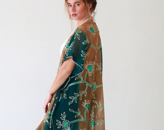LUXURY UPCYCLED KAFTAN - Embellished Vintage Cape - Recycled Indian Fabric - 70's boho - 60's folk style - Retro hippie coat - Beach Shawl