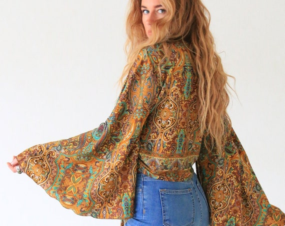 FALL CROP TOP - Ruby Sparrow Bell sleeve - Vintage Fabric - Peasant Top - Up cycle kaftan - Summer Crop top - Beach - Winter Christmas