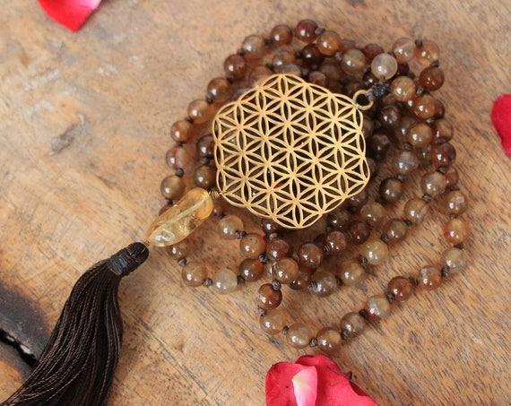 GEMSTONE MALA NECKLACE - Sacred geometry - Flower of life - Crystal necklace - Prayer beads - Mandala - Yoga necklace - Tassel - Spiritual