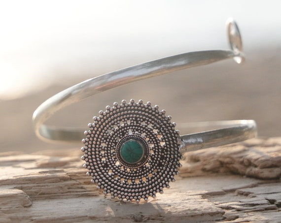 TURQUOISE ARM CUFF - Festival Arm Cuff - Tribal - Upper Arm Cuff - Silver Cuff - Healing Crystal Jewellery - Arm Band - Festival - Gemstone