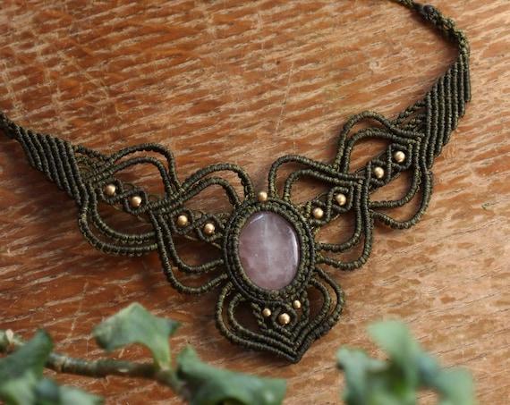 STUNNING ROSE QUARTZ - Xl Micro Macrame Crystal Necklace - Love Stone - Natural Crystal - Adjustable jewellery - Xmas Gift - Valentines Gem