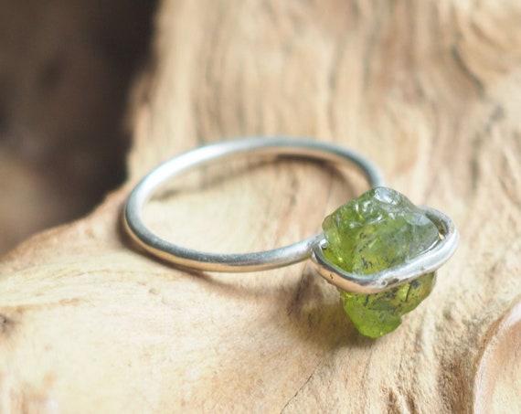 TOURMALINE STACK RING - Crystal Chip Ring - Sterling silver - 925 - Unpolished Rustic Gemstone - Organic Natural Crystal Ring - Bespoke gift