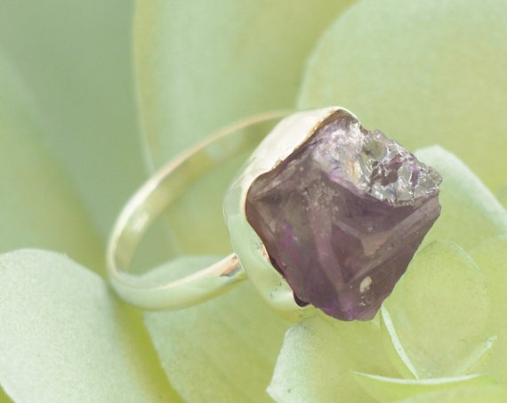 ROUGH AMETHYST RING - Sterling silver - 925 ring - Natural Raw Rough - February - Rustic - Powerful Crystal - Gemstone Chip - Mothers day