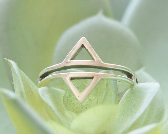 DIVINITY TRIANGLE RING - Sterling silver ring - Minimalist Jewellery - Stack ring - Infinity Ring - Triangle Jewelry - Aztec Ring - Gift