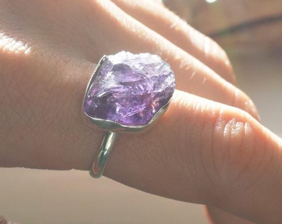 RAW AMETHYST RING - Sterling silver - 925 ring - Natural - Crystal - Rough Raw Crystal - February Birthstone - Rustic - Powerful Gemstone