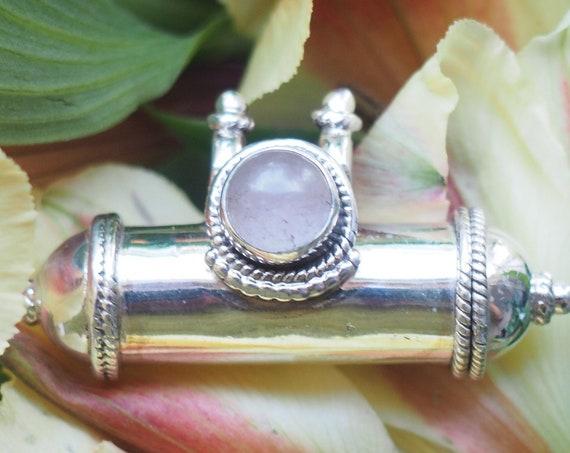 ROSE QUARTZ MANTRA - Sterling Silver Locket Necklace - Prayer Box - Photo Keepsake Necklace - Ash Jewelry - Affirmation Gift - Love Stone