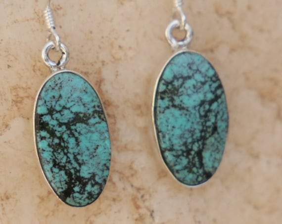 SPECKLED TURQUOISE EARRINGS - 925 Sterling Silver Earrings - Gemstone - Navajo - Handmade - Natural - Vintage style - Blue turquoise - Boho