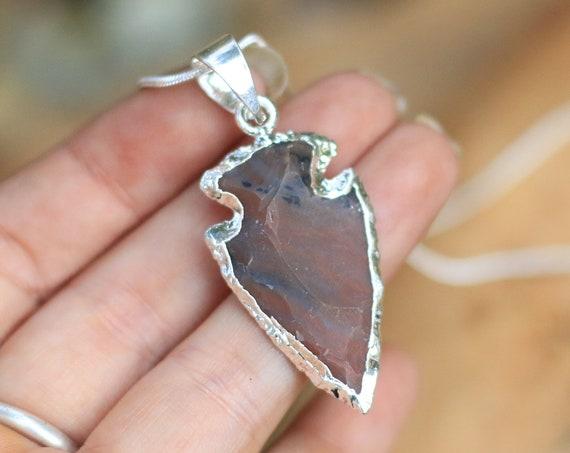 AGATE ARROW NECKLACE - Navajo - Native American - Silver Plated - Electroform - Gift - Handmade - Crystal - Arrowhead - Boyfriend - Unisex