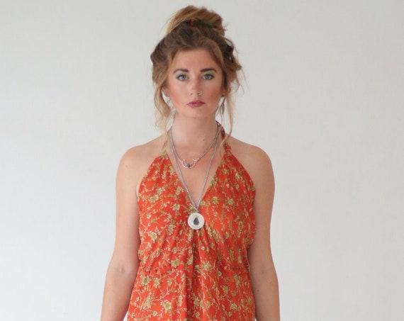 PAISLEY DREAM JUMPSUIT - Silk - Summer Wedding Jumpsuit - Handmade Festival Playsuit - Vintage - Backless - Harem Pants - Reworked - Maxi