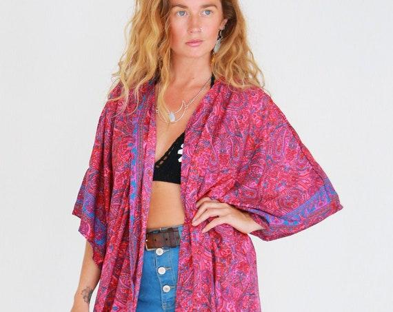 RHUBARB PINK KIMONO - Silk Cardigan - Cover Up - Bohemian Beach  Kaftan - Lounge Dress - Wrap Around Kimono - Lingerie Dress - Summer