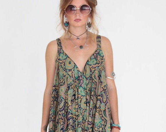 PAISLEY FLARE JUMPSUIT - Vintage - Festival - Backless Harem jumpsuit - Summer style Dress - Casual - Travel - Maxi all in one - Beach Cover