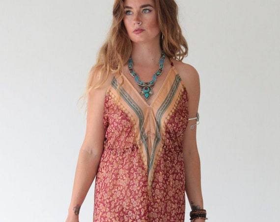 INDIAN HAREM JUMPSUIT - Vintage Silk - Block Print - Spring - Festival - 70's - 60's - Hippie - Holiday - Beach - Summer - Backless - Fall
