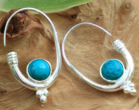TURQUOISE HOOK EARRING - Oxidised Silver plated Earrings - Navajo - Healing Crystal Jewellery - Chakra - Boho - Vintage - Festival - Gift