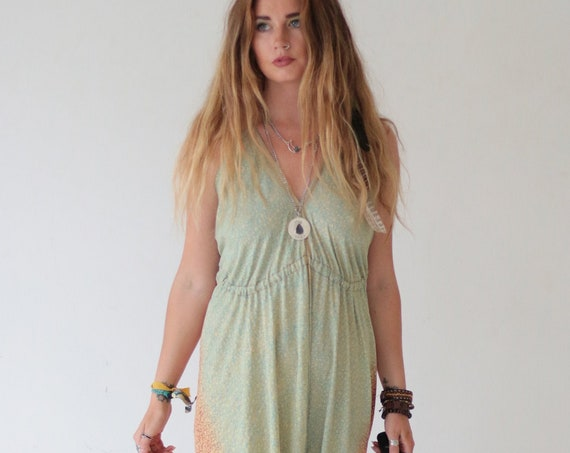 BOHO SUMMER JUMPSUIT - Wedding Outfit - Festival Fashion Jumpsuit - Vintage Silk - Hippie Playsuit - Beach Dress - Holiday - Vacation - Sun