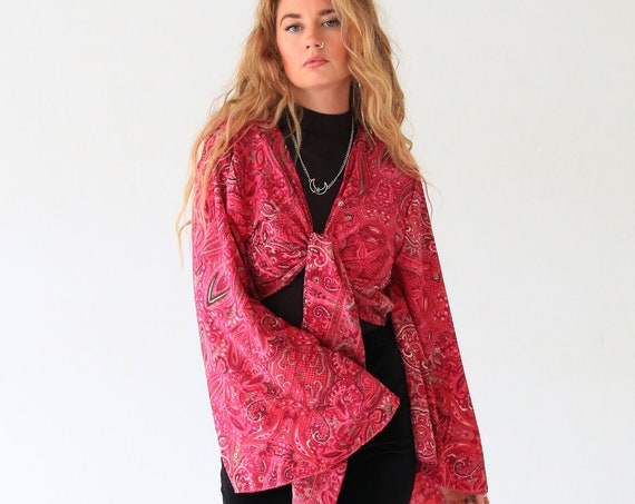 PINK POWER CROP - Bell sleeve top - Vintage Retro Kimono - Up cycle - Summer - Cover Up - Kaftan - Silk tie top - Pink Paisley Top - Fall