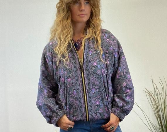GREY SILK JACKET - Thermal Bomber Fleece - Indian Coat - Petite - Uk 8-12 - Recycled - Slow Fashion - Unisex Vintage style - Sale Clothing