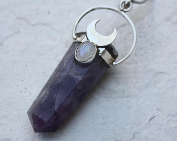 AMETHYST & MOONSTONE NECKLACE - Sterling Silver Amethyst Necklace - Crystal Moon - Moonstone - Bespoke - Healing Crystal - Cosmic Birthstone