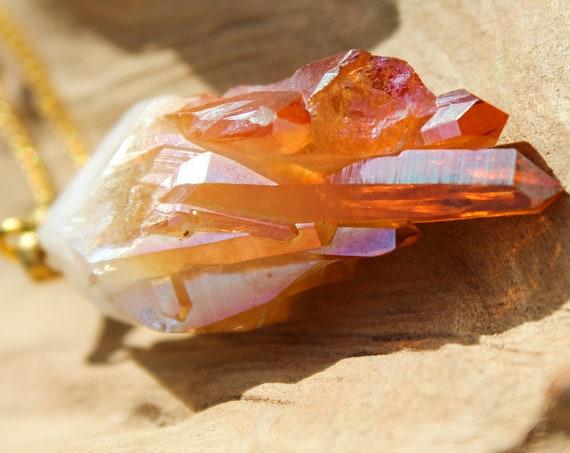 ORANGE TITANIUM NECKLACE -  Rainbow Necklace - Aura Necklace - Angel Quartz - Glitter - Festival - Crystal Necklace - Birthstone - Gemstone