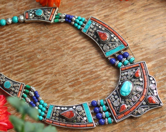 VINTAGE NEPAL NECKLACE - Xl Statement jewellery - Coral - Turquoise - Nepali - Buddhist - Tibetan - Semi Precious - Antique Style Gift Set