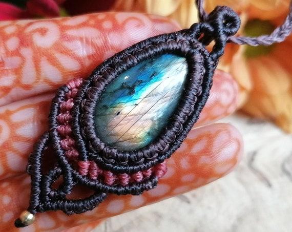 UNISEX MACRAME AMULET - Micro Macrame Mens necklace - Rare Labradorite Crystal Gift - Handmade - Christmas - Tribal Yoga Style - Adjustable