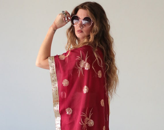 INDIAN SEQUIN KIMONO - Embellished - Vintage - kaftan - Festival - Summer - Vacation - Holiday - Boho - Wedding - Sari silk jacket - Glitter