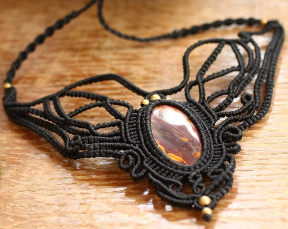 INTRICATE MACRAME CHOKER - Statement Macrame Necklace - Limited Edition - Fire Jasper - Healing Crystal Jewellery - Only One - Bespoke Gift