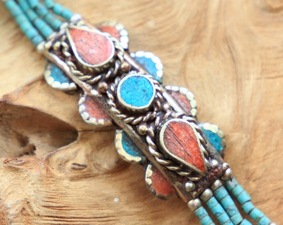 TURQUOISE & CORAL BRACELET - Vintage Nepali Bangle - Statement Nepalese Jewellery - Afghan Indian Style - Rare - Gemstone cuff - Unique Gift